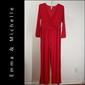 Emma & Michelle Woman Bell Sleeve Jumpsuit Large